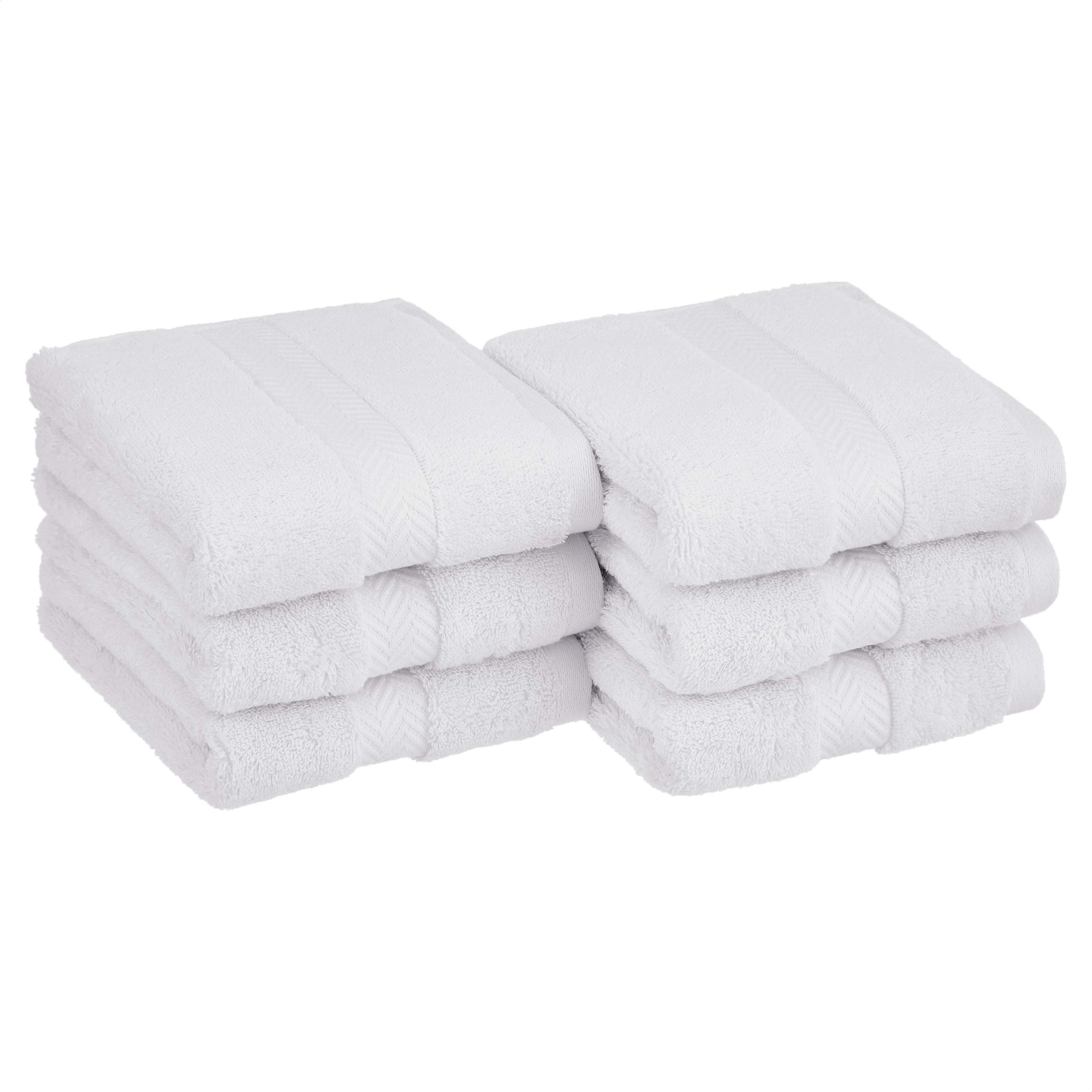 Amazon Basics Egyptian Cotton Hand Towel - 6-Pack, Pristine Snow