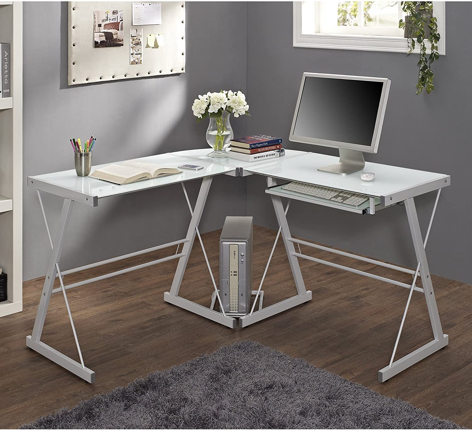 - Best L Shaped Small White Computer Desk With Keyboard Tray - Home