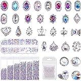 Rhinestones for Nails, Shynek 3318Pcs Nail Art Rhinestones Crystals Diamonds with 30pcs Nail Metal Gems Jewels Stones for 3D Nails Art Decoration and Supplies