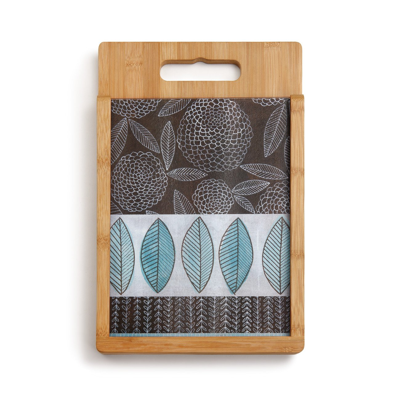 Demdaco Blue Zinnia Wood and Glass Cutting Board Set, Multicolor