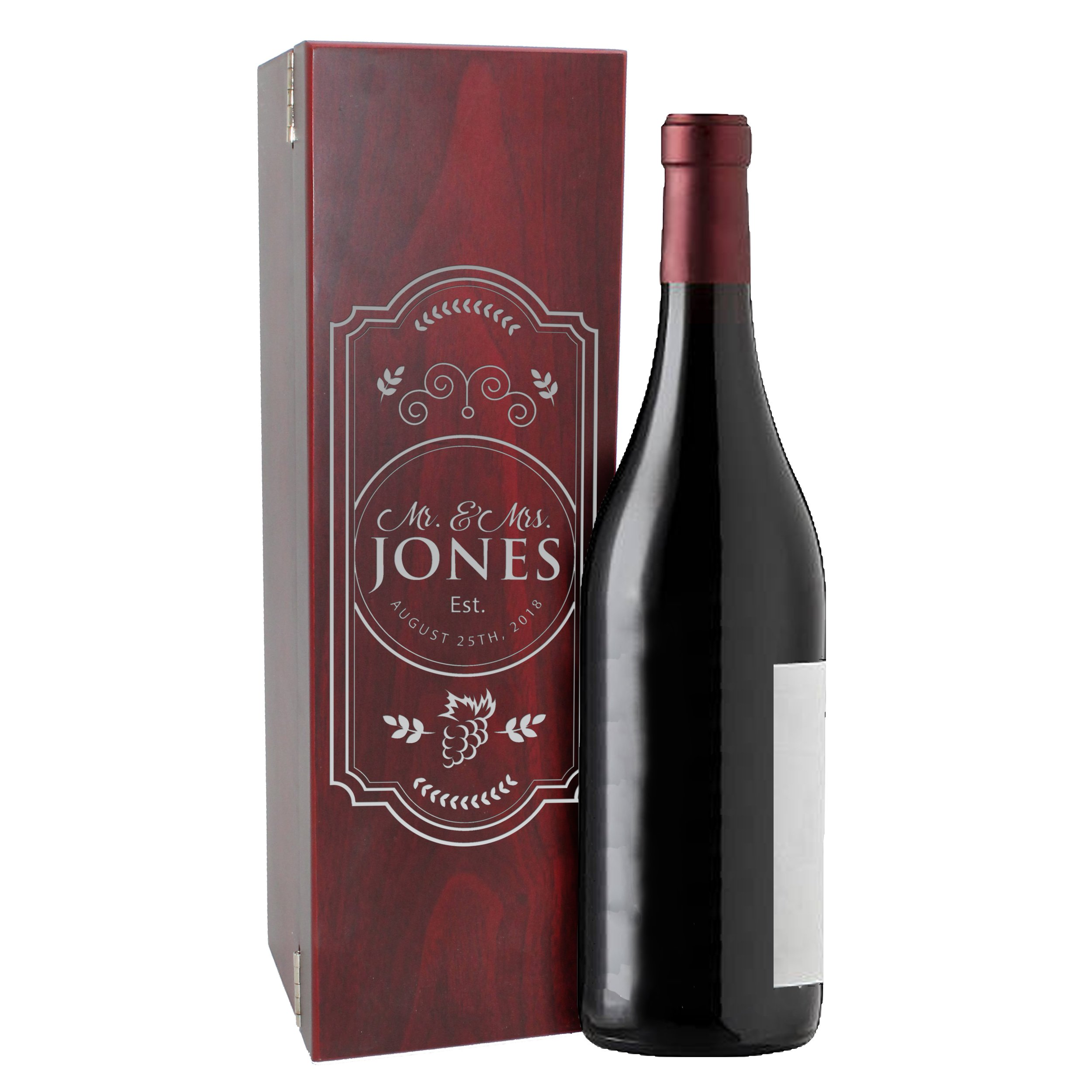 Personalized Wood Wine Box - Anniversary Ceremony Couples Wedding Wine Gift Box Holder - Custom Engraved for Free (Rosewood) by My Personal Memories (Image #3)