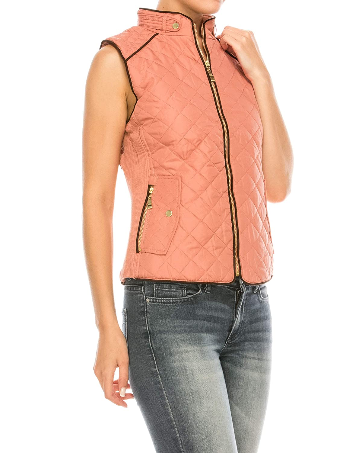 Nolabel Womens Lightweight Quilted Padding Zip Up Vest Jacket Suede Piping with Pocket
