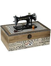 Supernova Decoracion_Costurero madera decorado con máquina de coser.Medidas 27*19*18