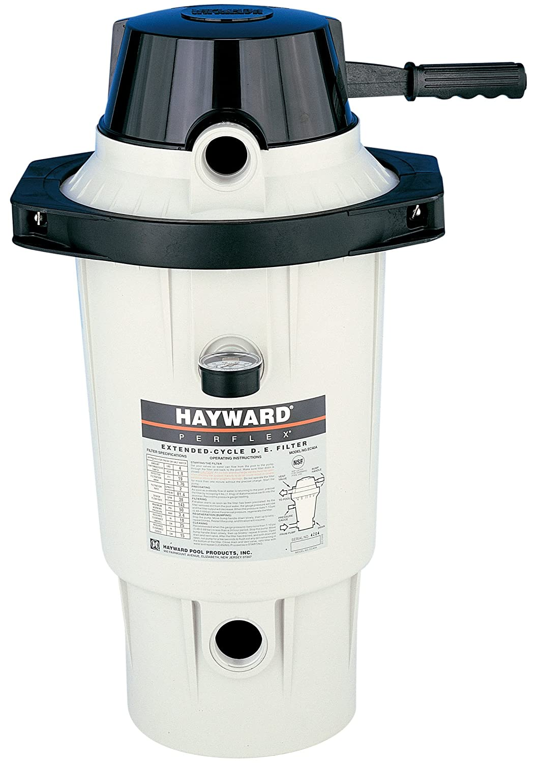 Amazon.com : Hayward EC50AC Perflex Extended-Cycle Above-Ground / in-ground  Pools D.E. Filter up to 30, 000 gallons : Swimming Pool De Filters : Garden  & ...