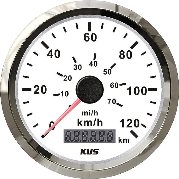 Kus Tachometer Kilometerzähler 120 Km H Für Auto Boot Yacht Schiff Mit Hintergrundbeleuchtung 85mm 12v 24v Auto