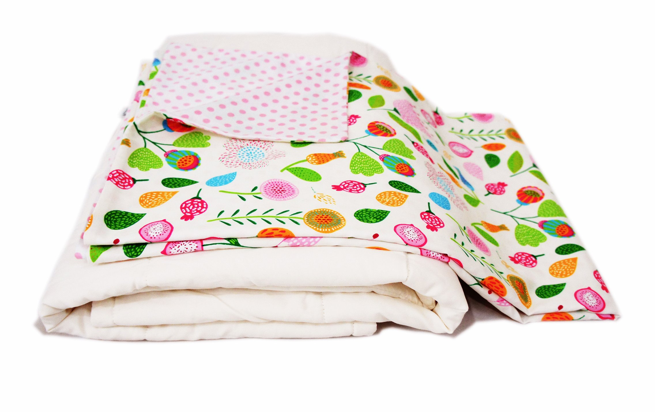 Cotton Flower Toddler Quilt (Quilt +Duvet Cover),Warmer, (Flower Song)