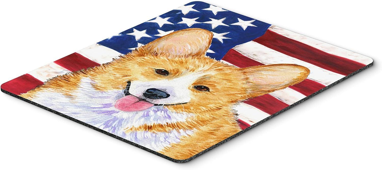 Hot Pad or Trivet Carolines Treasures SS4048MP USA American Flag with Corgi Mouse Pad Large Multicolor