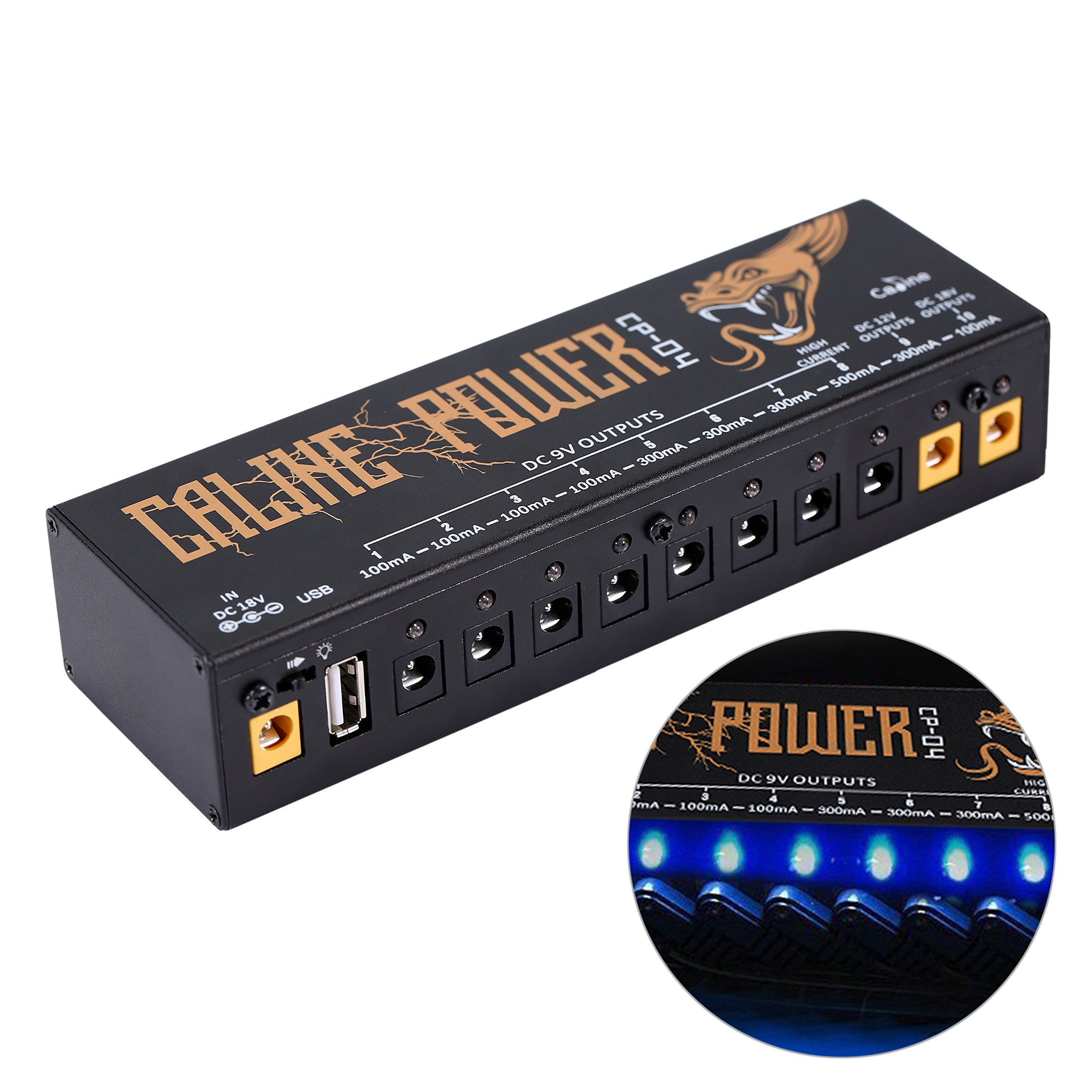 Caline CP-04 Guitar Pedal Power Supply 10 Isolated DC Output for 9V/12V/18V Guitar Bass Effects Pedals with Built-in USB Charging Port for Phone iPhone Pad iPad