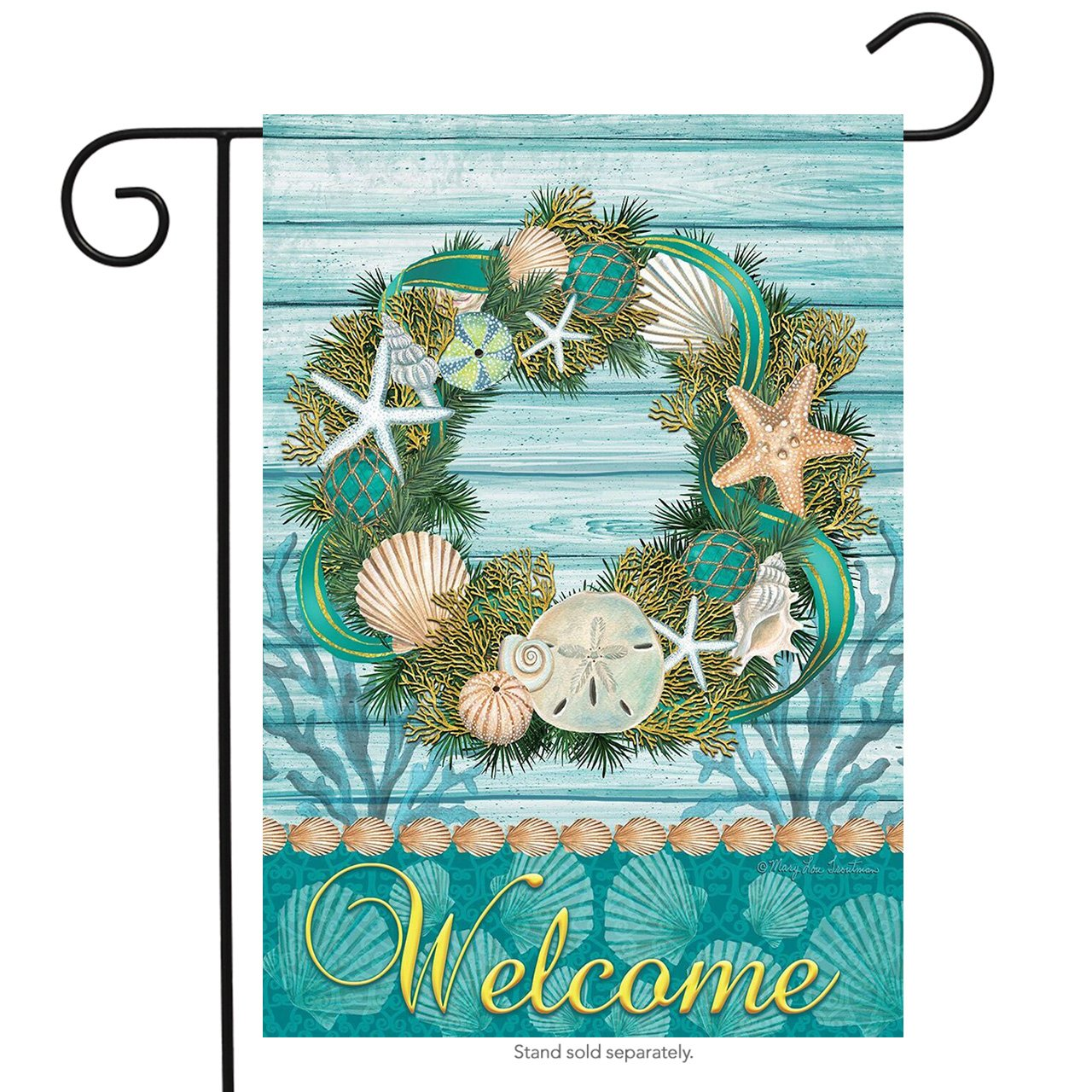 "Briarwood Lane Coastal Wreath Summer Garden Flag Welcome Nautical Shells 12.5"" x 18"""
