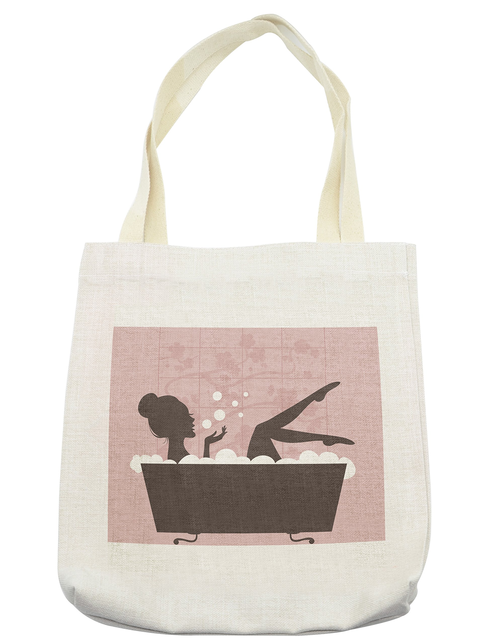 Lunarable Teens Girls Tote Bag, Beautiful Woman in Bath Tub Spa Treatment Relaxing Concept Vintage Style, Cloth Linen Reusable Bag for Shopping Groceries Books Beach Travel & More, Cream