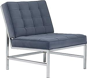 Studio Designs Home Modern Ashlar Velvet Accent Chair, Lounge Chair for Living Room Bedroom or Office, Polyester Fabric in Slate Blue, Chrome
