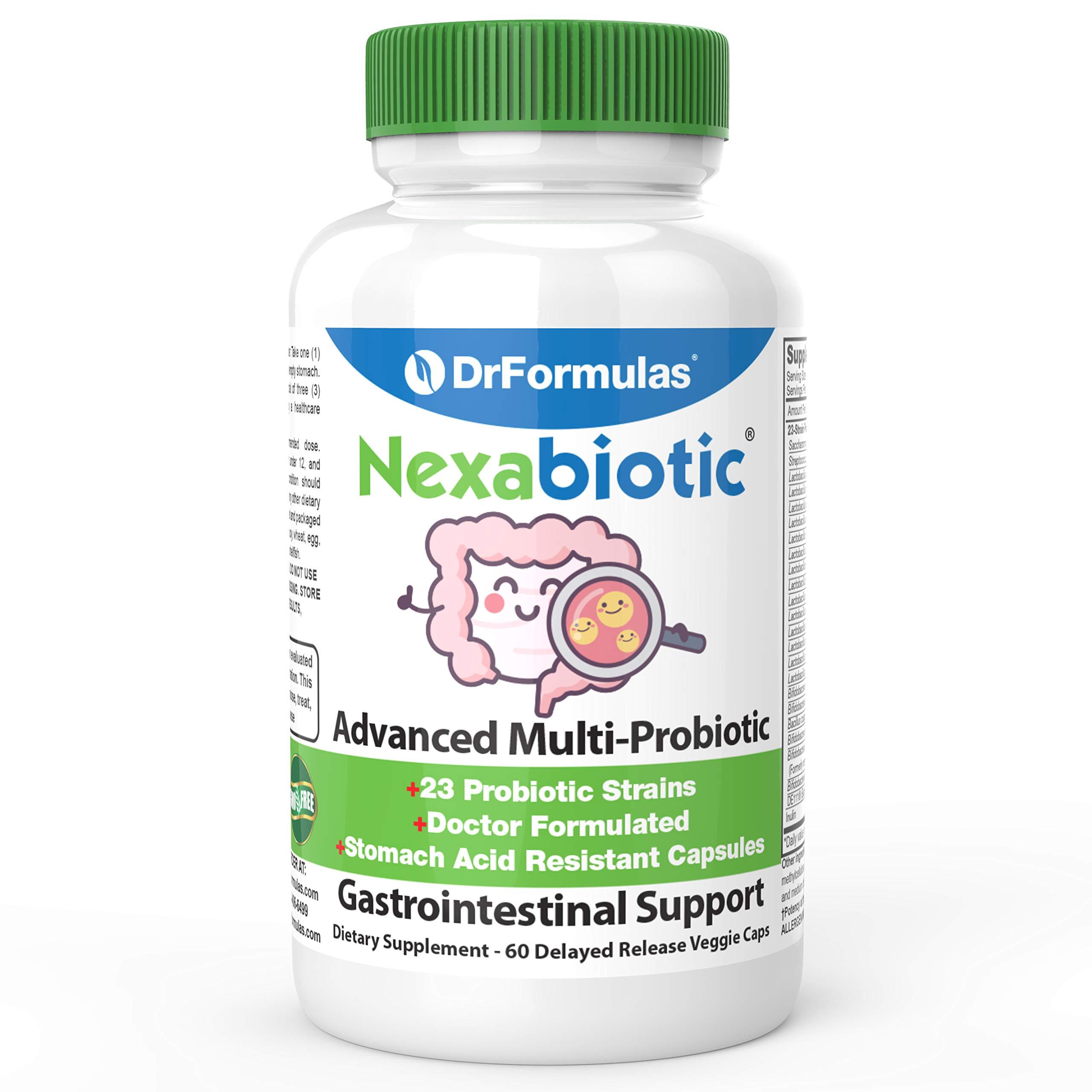DrFormulas' Best Probiotics for Women & Men | Nexabiotic Multi Probiotic with Saccharomyces Boulardii, Lactobacillus Acidophilus, B. infantis, Prebiotic 60 Count Capsules (Not Pearls) by DrFormulas