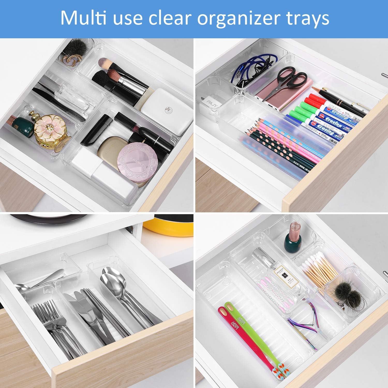 Trays for Bedroom Dresser Drawer Gogooda Desk Drawer Organizer Tray Set of 17 Desk Drawer Trays and Storage for Kitchen Bathroom Makeup Drawer Dividers with 5-Size