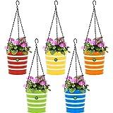 TrustBasket Round Ribbed Hanging Basket - Set of 5 (Green, Yellow, Red, Blue, Orange)