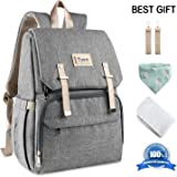 Baby Nappy Bag Backpack, Multifunctional Changing Bag for Traveling Mom Daddy, Large Capacity Diaper Bag Waterproof Changing pad 3 Insulated Pockets Bottle Stroller Fit (Gray)