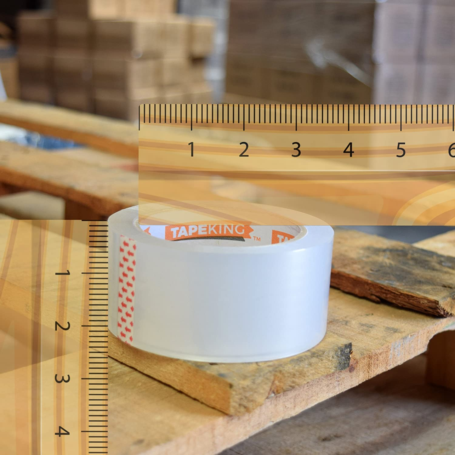 1.88 Inch Wide by Tape King 6 Rolls Clear Packing Tape 110 Yards Per Roll