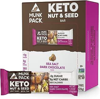 product image for Munk Pack Keto Nut & Seed Bar, 0g Sugar, 2g Net Carbs, Keto Snacks, No Added Sugar, Plant Based, Gluten Free, Soy Free (Sea Salt Dark Chocolate 12 Pack)