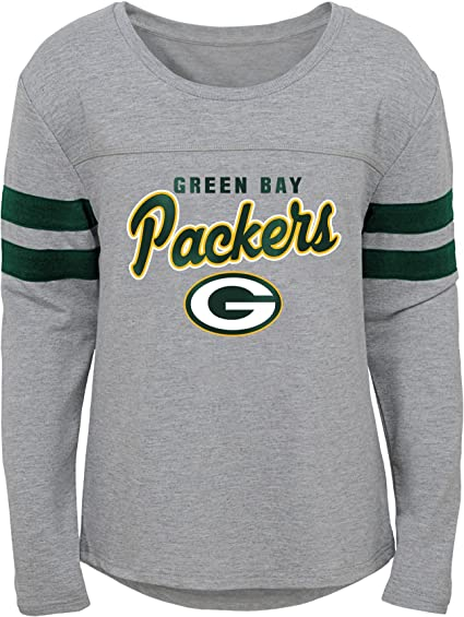 OuterStuff NFL Green Bay Packers - Camiseta de Manga Larga para niñas, diseño de Aroma de Campo, Color Gris y Gris