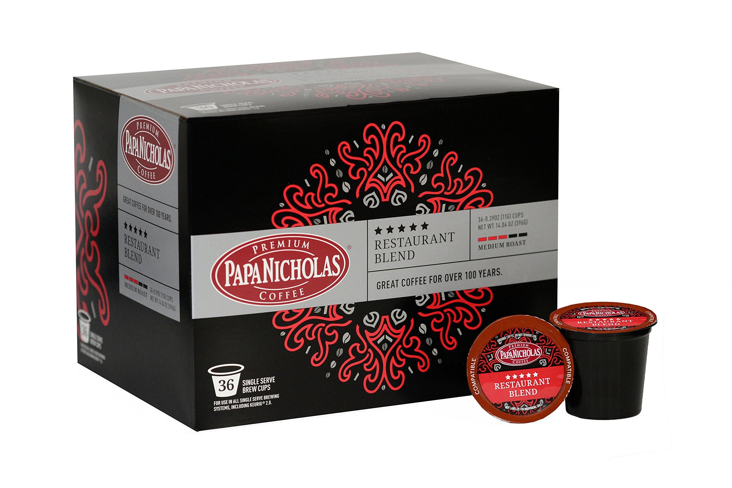 PapaNicholas 5-Star Restaurant Blend Single Serve Coffee Cups, Fits Keurig K Cup Brewers, Box of 36 (03365)