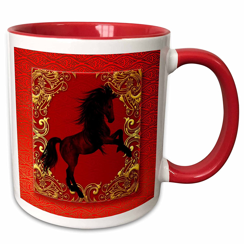 Gold and Black Ceramic Mug 11oz White 3dRose 101846/_5 Zodiac Horse Chinese New Year Red