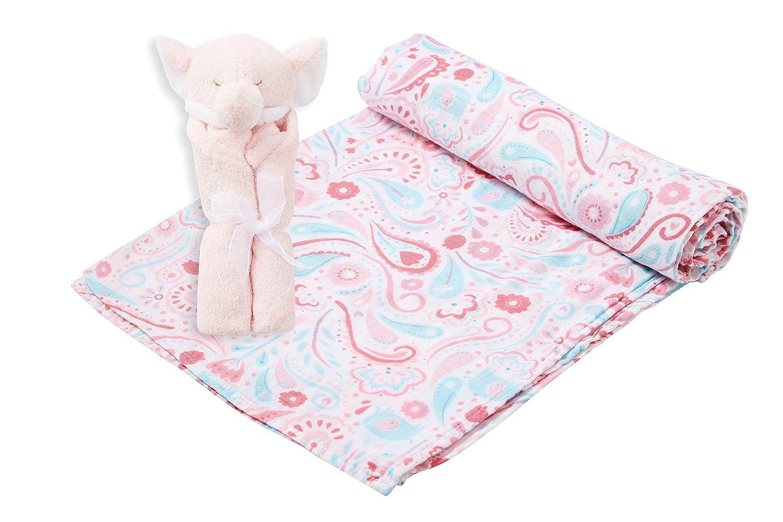 Angel Dear Swaddle and Blankie Gift Set Elephant Paisley with Pink Elephant