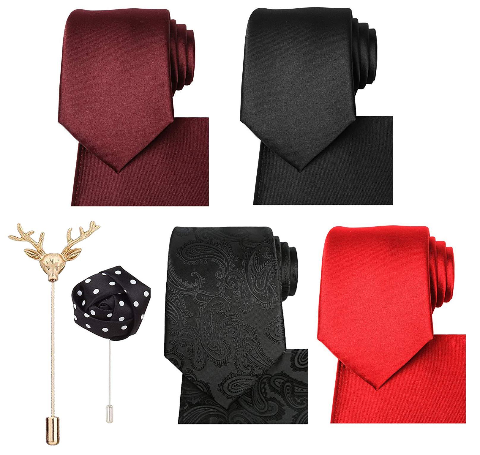 cc220966e8a9 Sorella'z Mens Partywear Neckties & Pocket Square Combo (Multicolors Combo)  with Lapels
