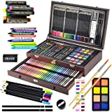 Sunnyglade 145 Piece Deluxe Art Set, Wooden Art Box & Drawing Kit with Crayons, Oil Pastels, Colored Pencils, Watercolor…