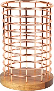 """Creative Home Deluxe Acacia Wood and Iron Wire Cooking Utensil Holder Tool Crock for Kitchen Countertop Organizer, 5-1/8"""" Diam. x 7-1/2"""" H, Copper Finish"""