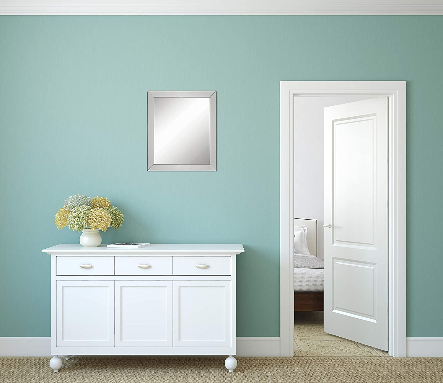 Entryway Full Size: 24.5 x 28.5 Bedroom or Bathroom Mirror Rectangle Hangs Horizontal or Vertical Large Luxury Elegant Framed Wall-Mounted Mirror with Angled Beveled Mirror Frame Hudson Frames Vanity