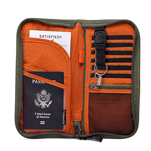 Zoppen RFID Travel Wallet & Documents Organizer Zipper Case, Family Passports Holder with Removable Wristlet Strap