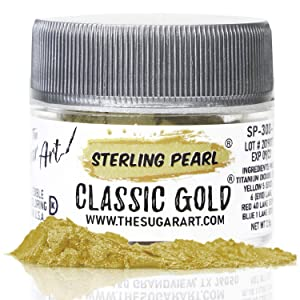 The Sugar Art - Sterling Pearl - Edible Shimmer Powder For Decorating Cakes, Cupcakes, Cake Pops, & More - Dust on Shine & Luster to Sweets - Kosher, Food-Grade Coloring - Classic Gold - 2.5 grams
