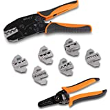 Wirefy Crimping Tool Set 8 PCS - Ratcheting Wire Crimper - Heat Shrink, Non-Insulated, Open Barrel, Flag, Ferrule…