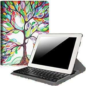 Fintie Rotating Keyboard Case for iPad 4 3 2 (Old Model)- 360 Degree Rotating Stand Cover with Built-in Wireless Bluetooth Keyboard for iPad 4th Gen with Retina Display, iPad 3 & iPad 2, Love Tree