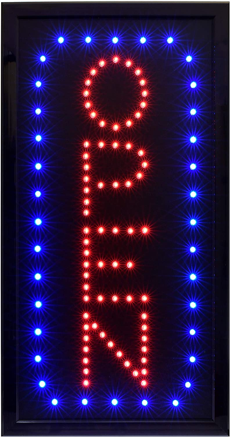 Alpine Industries LED Open Neon Sign for Business - Electronic Lighted Board w/Flash & Steady Mode - Provides Classy Techno Display - for Shops & Cafes (Vertical, 10