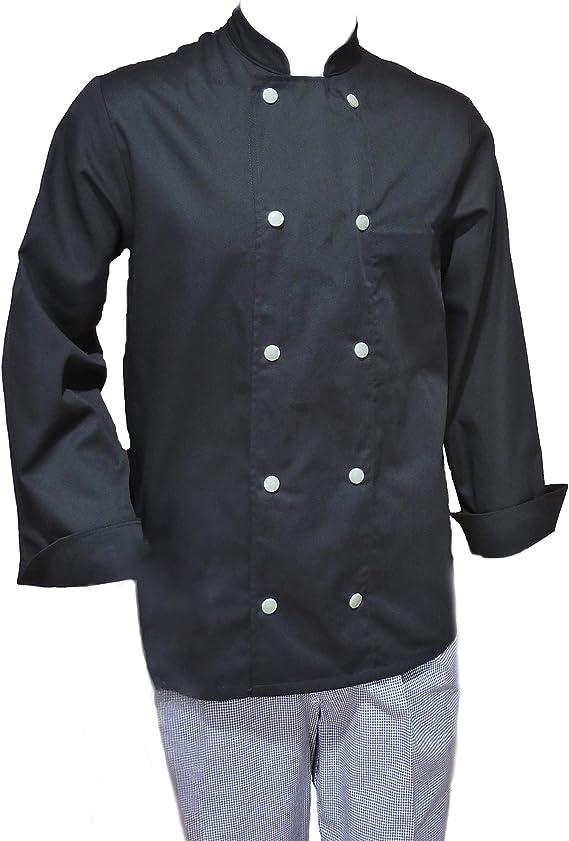 Marion - Chaqueta de Cocina Negra para Hombre o Mujer - Chef y Cocinero - Manga Larga - poliéster y algodón - 1140 Piezas: Amazon.es: Ropa y accesorios