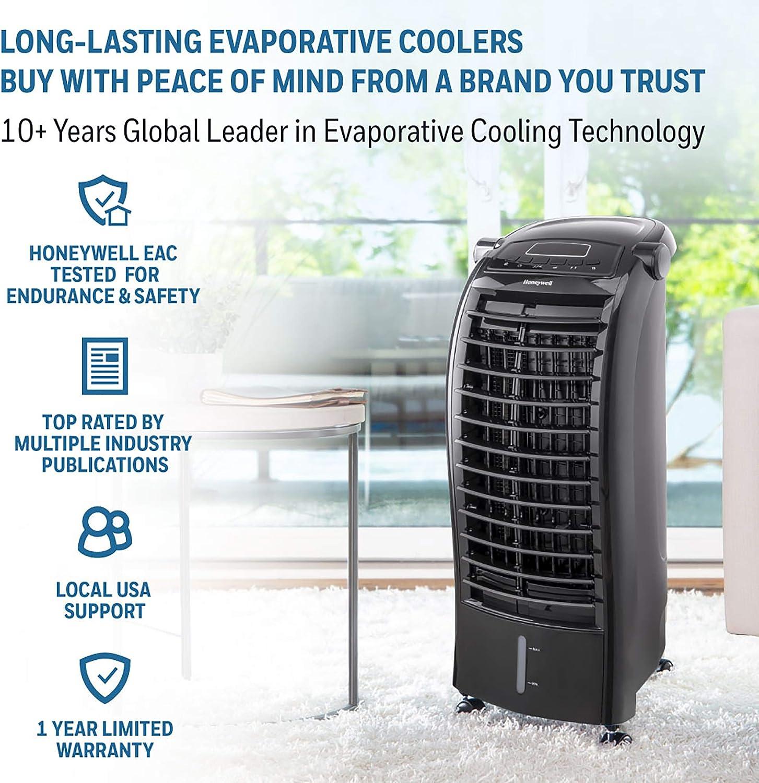 CS074AEKK Honeywell 200 CFM Indoor Evaporative Air Cooler Swamp Cooler with Remote Control Black