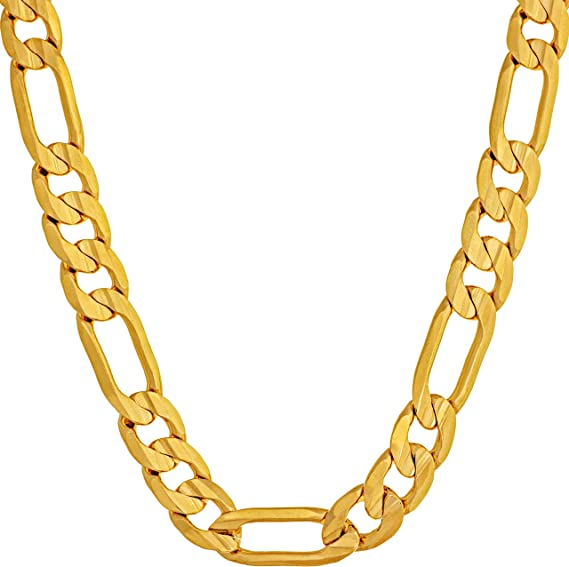 Amazon Com Lifetime Jewelry 7mm Figaro Chain Necklace 24k Gold Plated For Men Women Teen 18 Inches Clothing