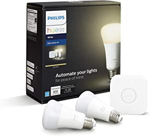 Philips Hue 2-Pack White A19 Dimmable Smart Bulb Starter Kit with Hub (Voice Compatible with Amazon Alexa, Apple Homekit and Google Home)