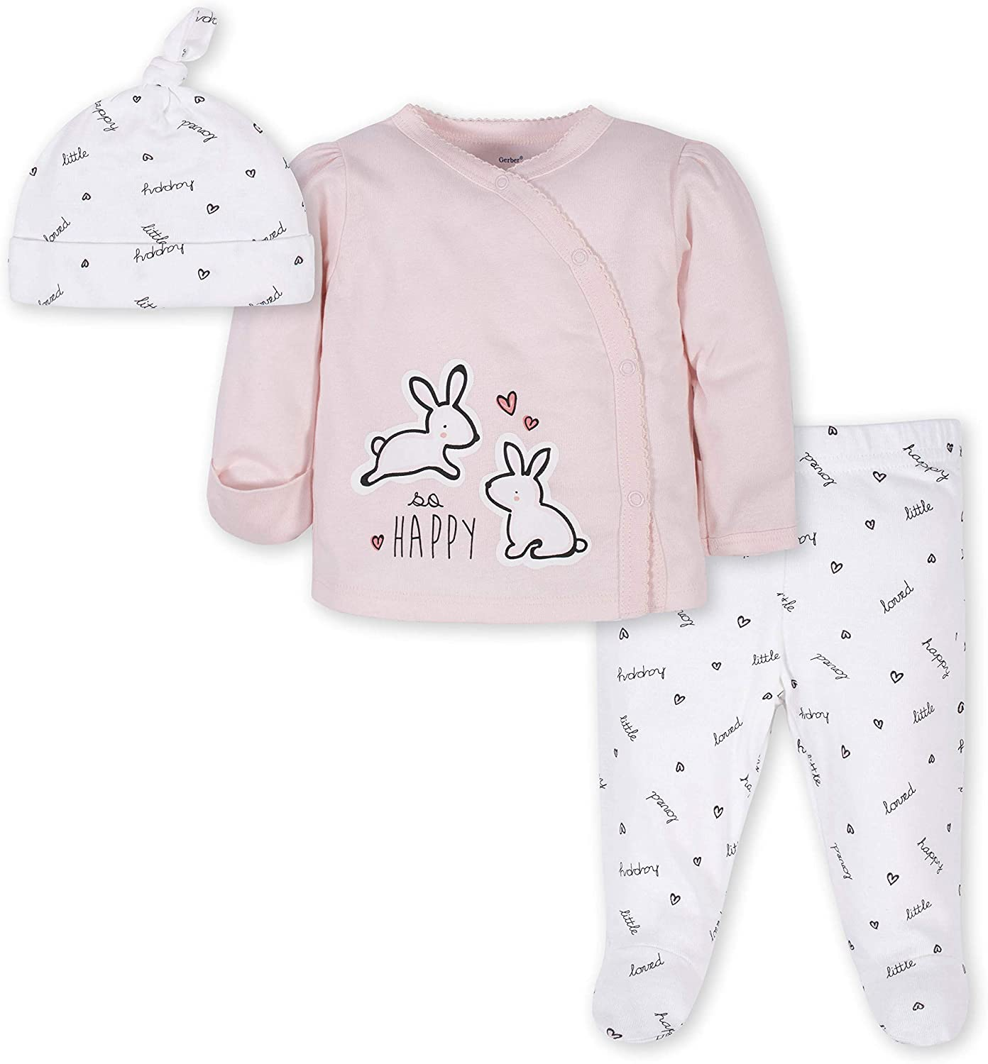 Gerber Baby 3-Piece Baby Girls Rabbit Take-Me-Home Set