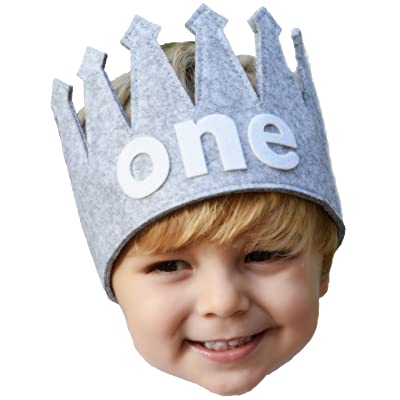 "Classy Baby Boy First""one"" Birthday Gray and White Party Crown: Clothing"