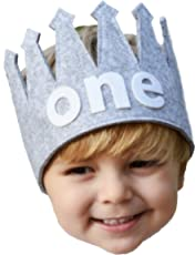 """Classy Baby Boy First""""one"""" Birthday Gray and White Party Crown"""