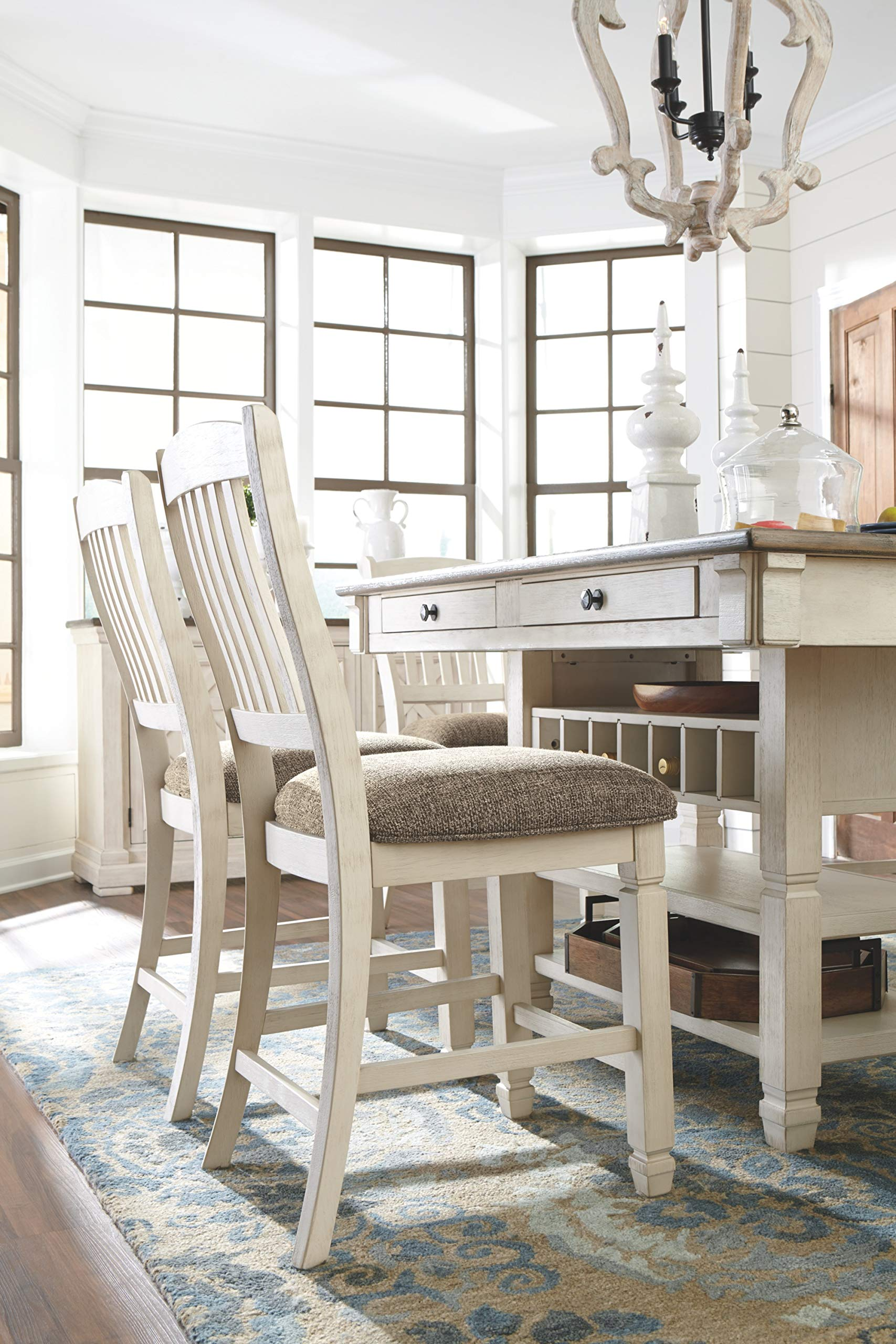 Ashley Furniture Signature Design - Bolanburg Counter Height Dining Room Table - Antique White by Signature Design by Ashley (Image #9)