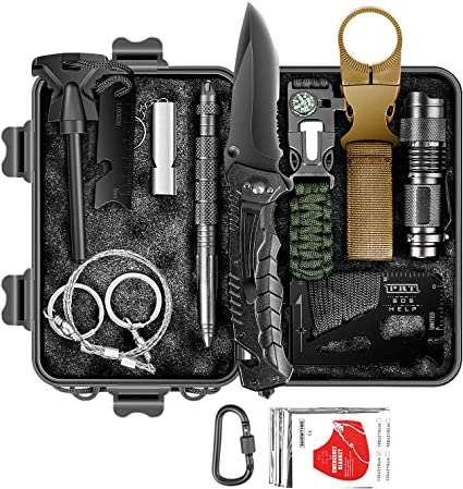 12pc Essential Gear for Camping Military EDC Emergency Tool Kit Men Survival Kit Tactical Outdoor Survival Kits Mini Defense Adventure Gadget Set in Waterproof Gift Box Hiking Fishing Hunting