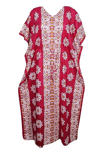 ebc04a5c98b Mogul Interior Women Kaftan Printed Lounge Kimono Dresses One Size (Pink,  White)