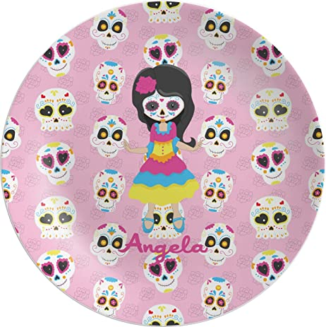 Kids Sugar Skulls Melamine Plate (Personalized)  sc 1 st  Amazon.com : personalized kids dinner plates - pezcame.com