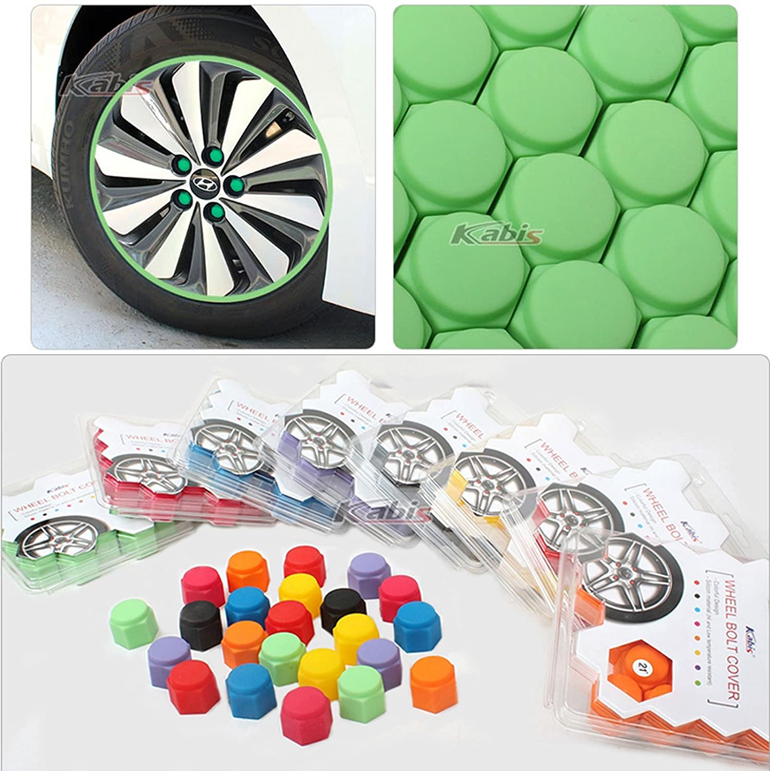 Set x20 Silicon Car Tuning Vehicle Wheel Nut Cover Bolt Cap Cover Set 8Color (21mm, Red)