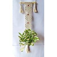 Zippy Flora Plant Macrame Hanger,Off -White,Heart Design,Wall Hanging,Garden Decor,Home Decor,Plant Macrame