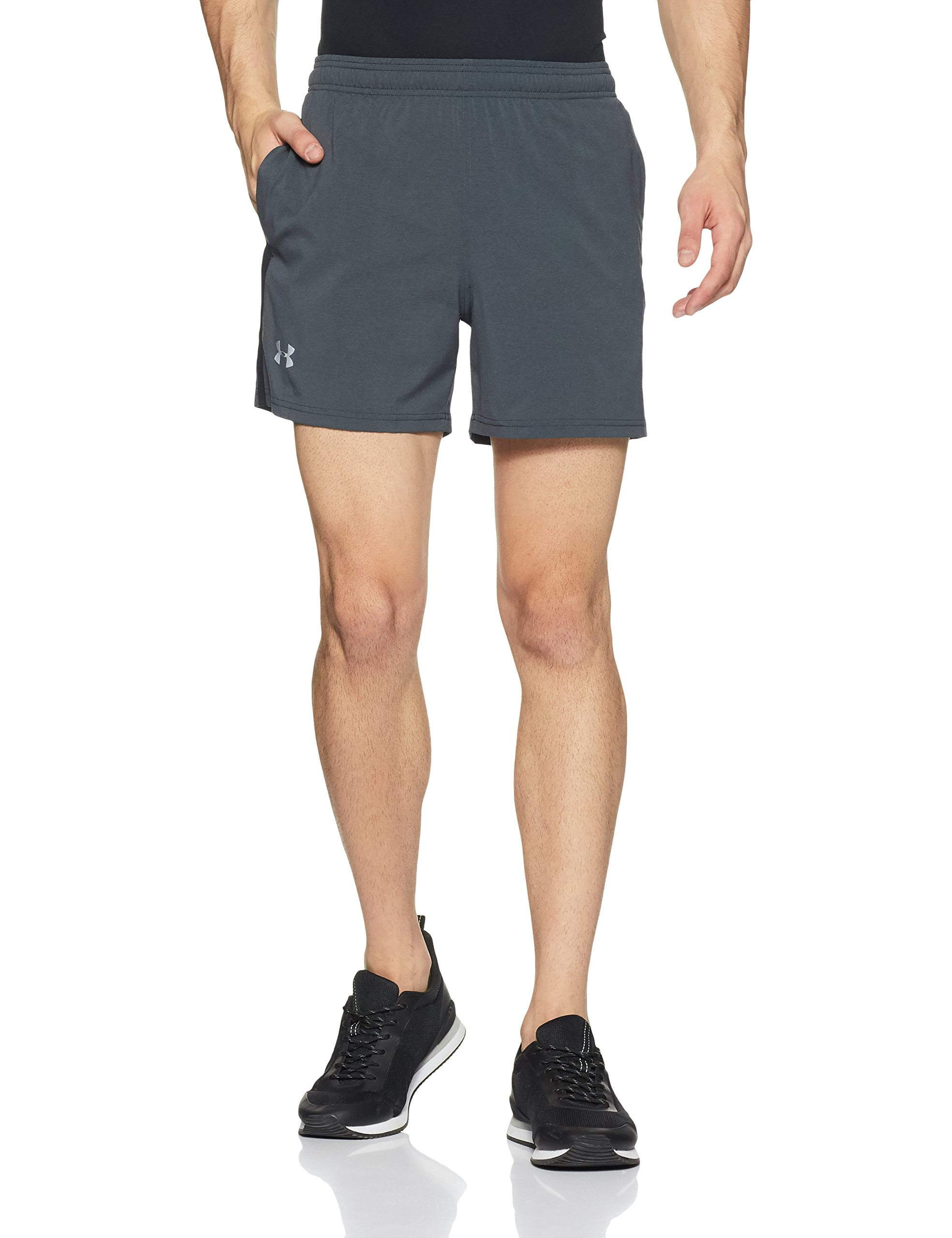 Under Armour Men's Launch 5'' Shorts,Black /Reflective, Medium by Under Armour (Image #1)