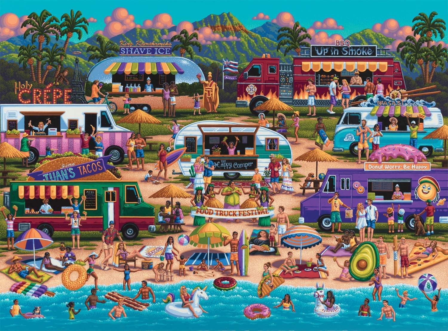 Buffalo Games - Pun Fuzzles - Hawaiian Food Truck Festival - 1000 Piece Jigsaw Puzzle