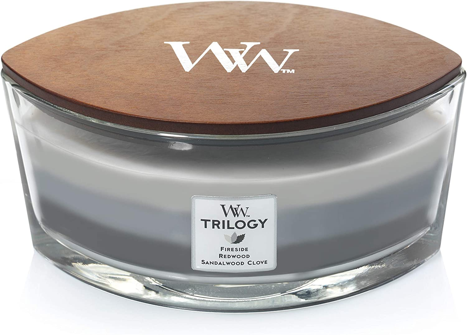 Woodwick Ellipse Trilogy Scented Candle with Crackling Wick | Warm Woods | Up to 50 Hours Burn Time Glass, Warm Woods